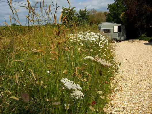 Retro caravan in meadow
