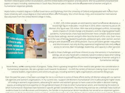 Arpita Varghese- Women in Humanitarian Contexts