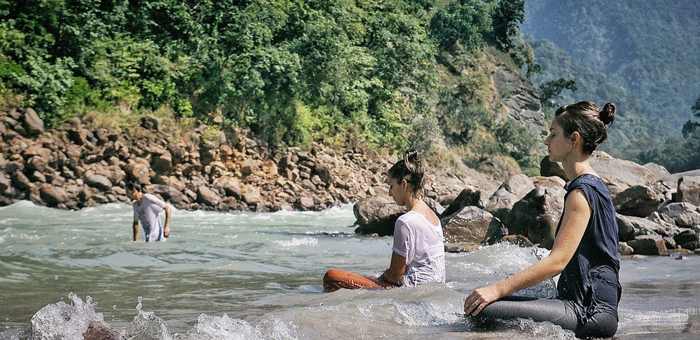 Ritual Bathing and Silent Meditation by the Ganga, Phool Chatti Ashram, Rishikesh
