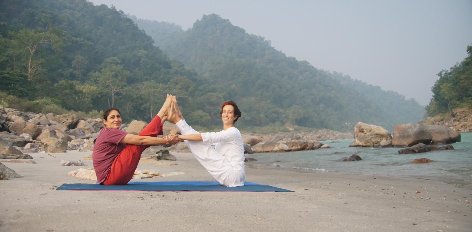 Yoga Asanas at the shores of the holy river Ganga