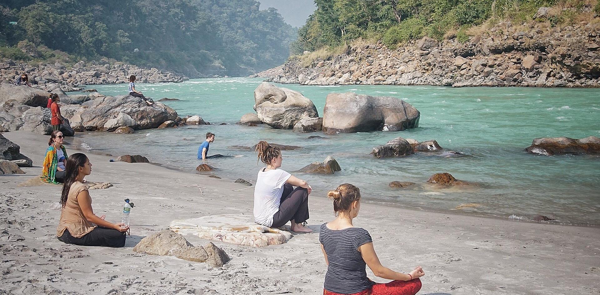 Ritual Bathing and Silent Meditation by the Ganga, Phool Chatti Ashram, Rishikesh