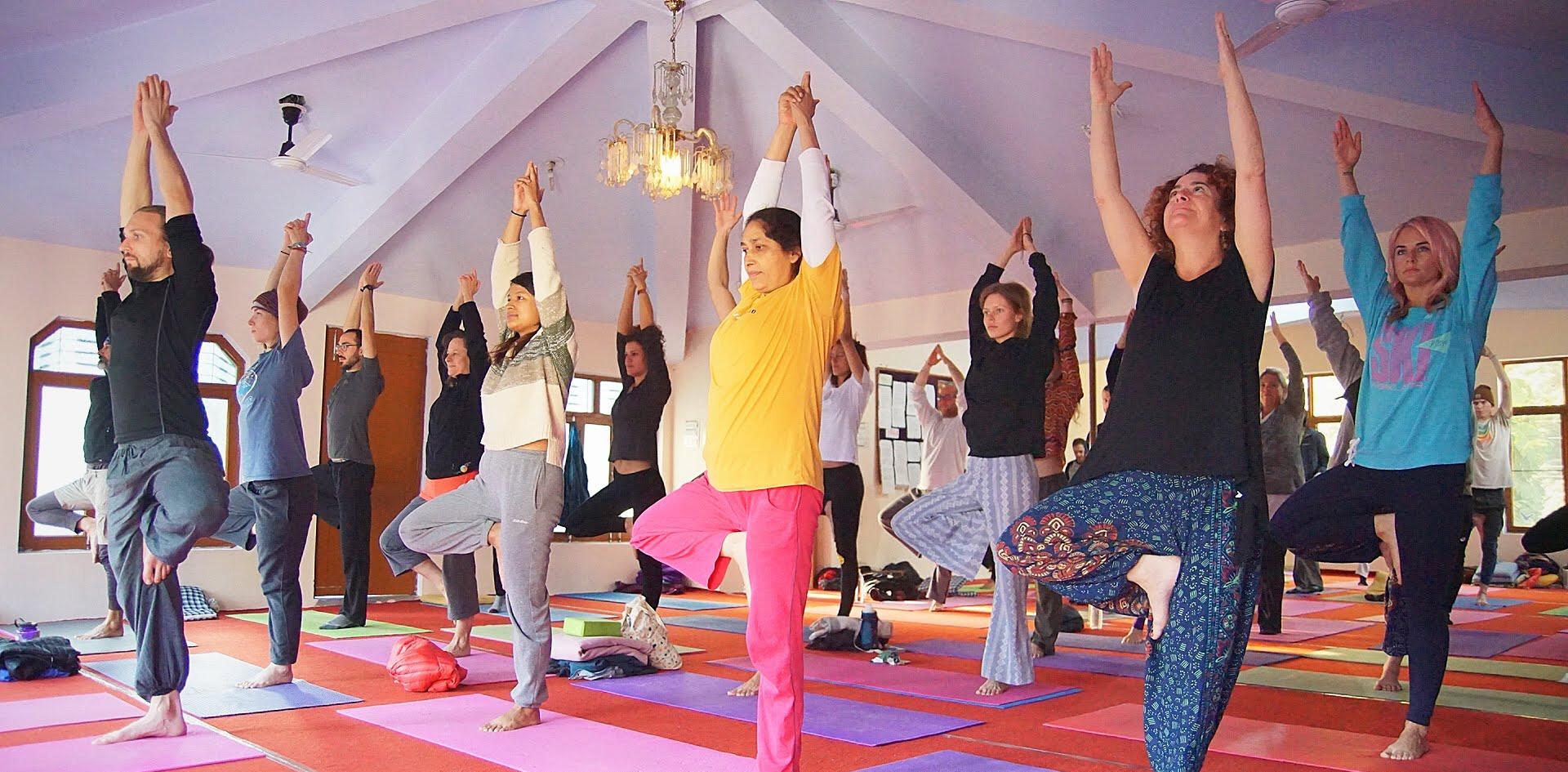 Yoga Practice in the Yoga Hall at Phool Chatti Ashram