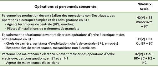 Tableau niveau habilitation électrique