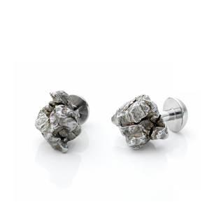 Natur-Manschettenknöpfe-Stahl-Meteorit-n