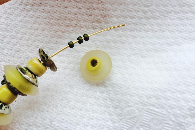 tin bead endcaps bracelet wirework jewelry lampwork