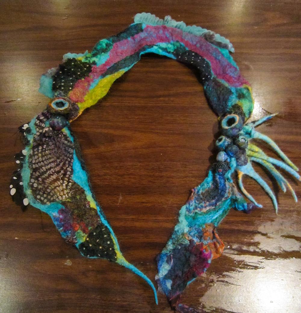 nuno felting neckpiece seed and lampworked beads sewing needlework
