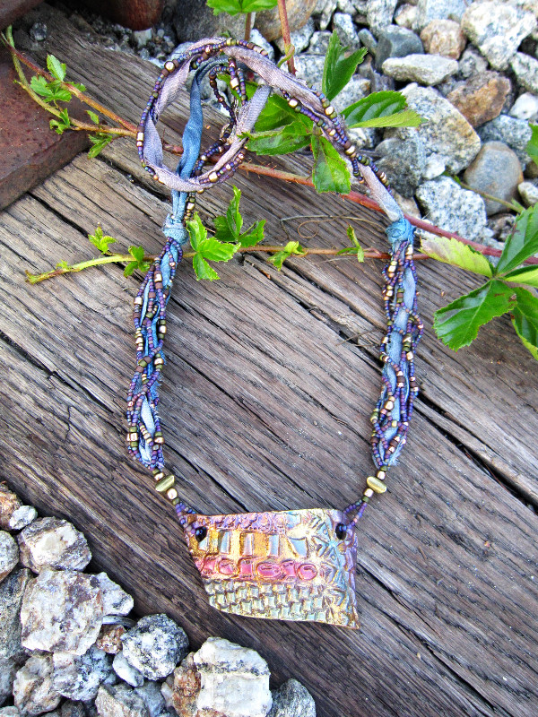 sari ribbon beaded necklace guilded ceramic pottery focal