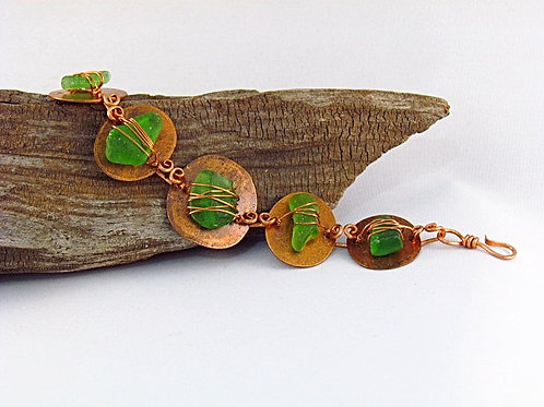 Copper Coin and Lake Glass Bracelet