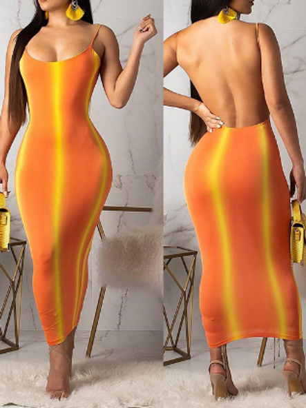Contrast backlessnslim maxi dress