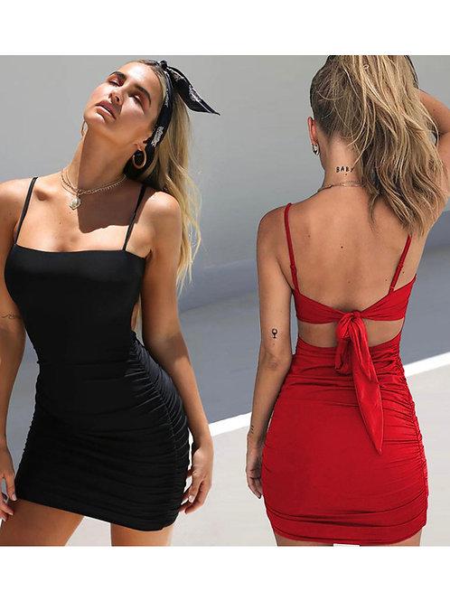 Lace-up backlesss spaghetti strap bodycon mini dress