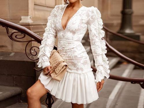Elegant Lace Long Sleeve Pleated Dress