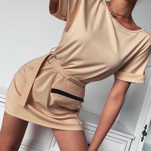 Short Sleeve Waist Pack Dress