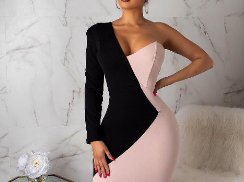 Long Sleeve Asymmetric Mini Dress