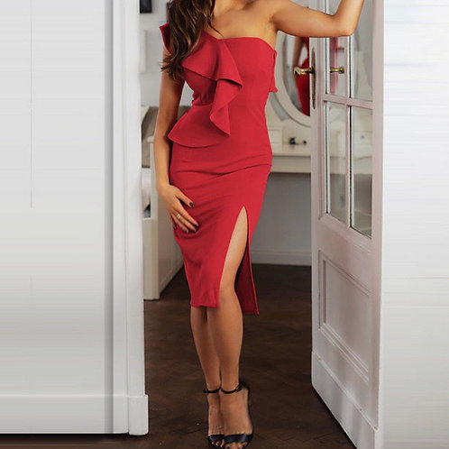 Asymmetrical one shoulder slit medí dress
