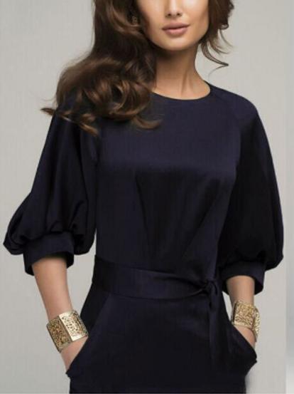 Half Sleeve Solid Color Midi Dress