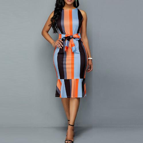 Sleeveless Multicolor Flounced Dress