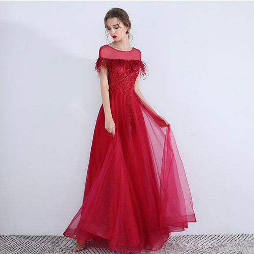 Feather floor lenght red dress