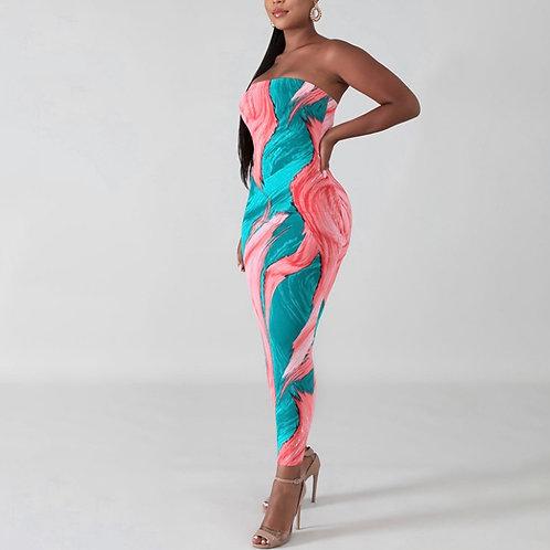 Strapless multicolor sleeveless tube dress