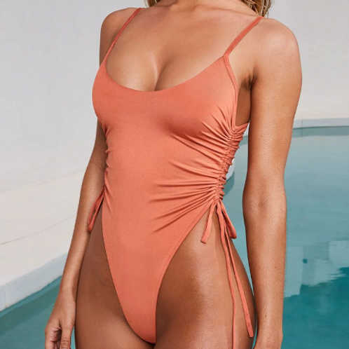 Sexy Drawstring Waist Creased One-piece Swimwear