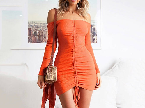 Off the shoulder long sleeve drawstring mini dress