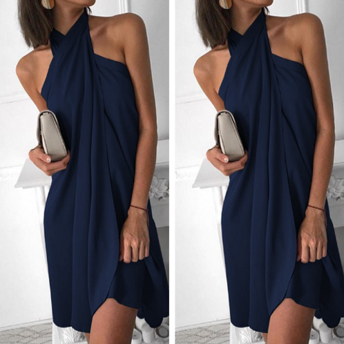 Irregular Hem Halter Dress