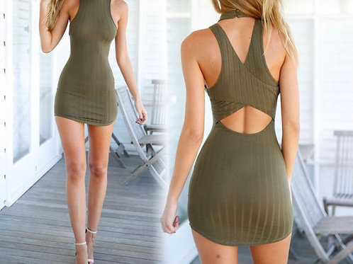 Olive backless hollow bodycon dress