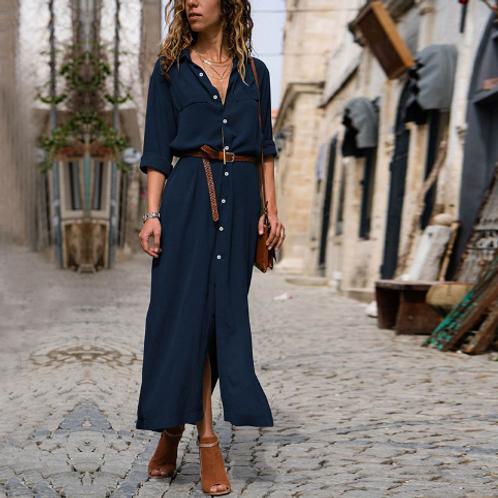 Single-breasted Long-sleeve Shirt Maxi Dress