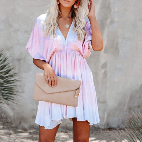 Tie dye short sleeve loose dress
