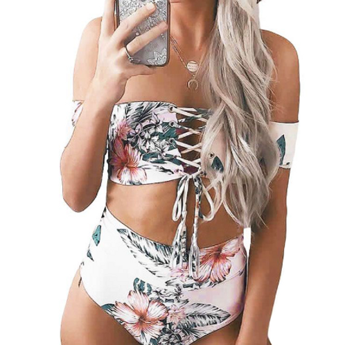 Floral lace up high waisted swimwear