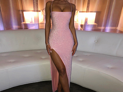 Bandage Side-slit Shining Maxi Dress