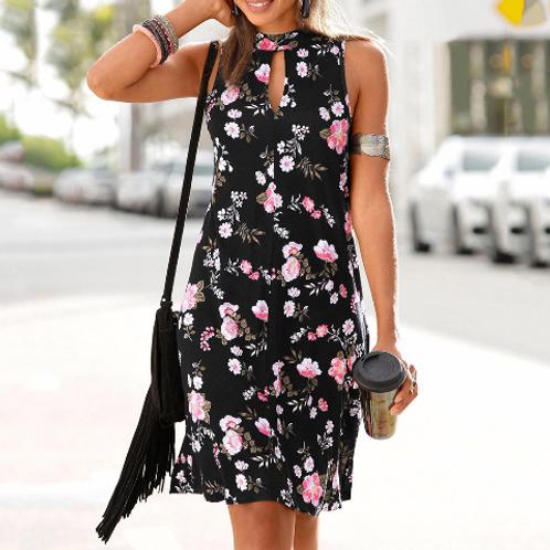 Cute black floral casual dress
