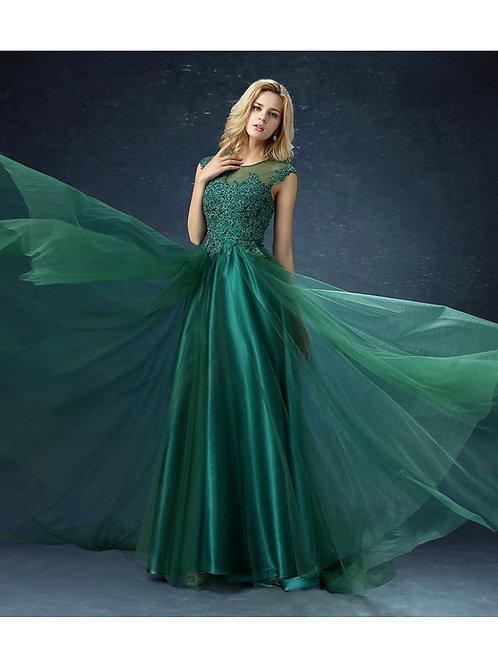 Elegant green lace sleeveless floor length evening dress