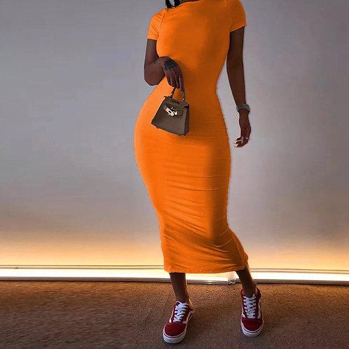 Solid color round collar short sleeve bodycon maxi dress