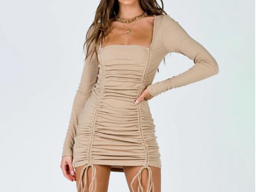 Long Sleeve Creased Drawstring Dress