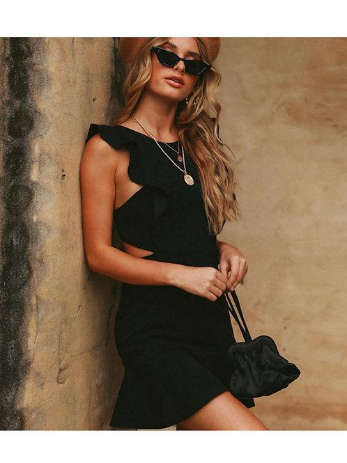 Backless Sleeveless Solid Ruffle mini dress