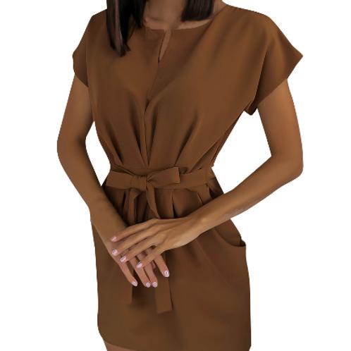 Pleated Defined Waist Short-sleeve Dress