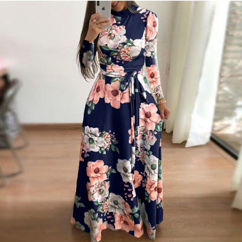 Floral Printed Lace-up Long Sleeve Maxi Dress