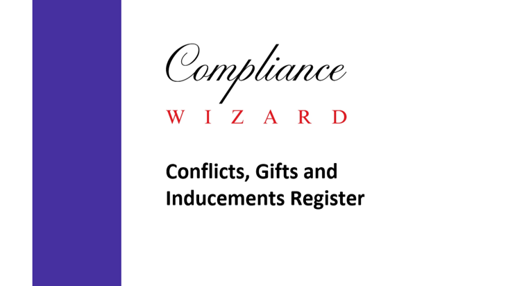 Conflicts, Gifts and Inducements Register