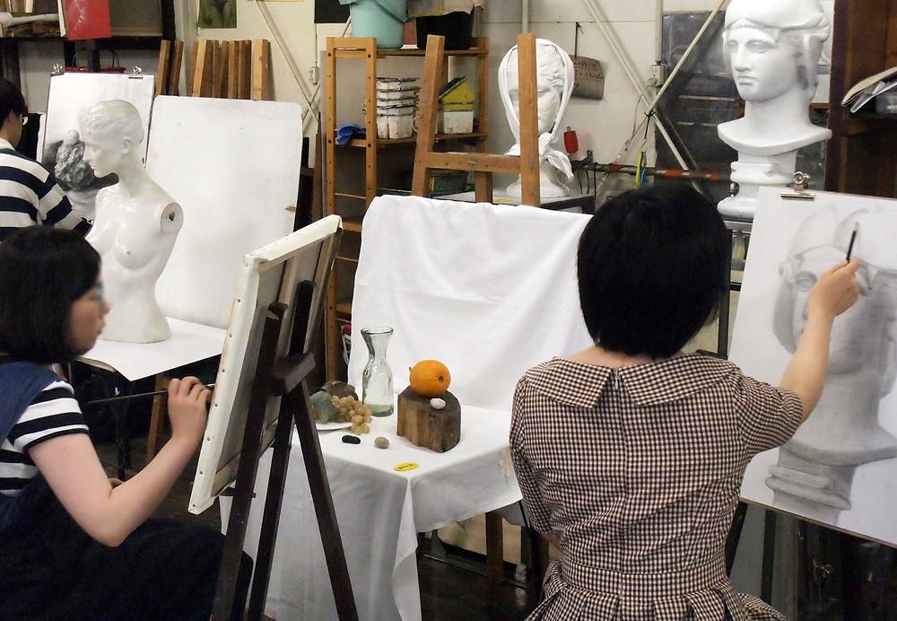 特設絵画科 デッサン、油彩風景