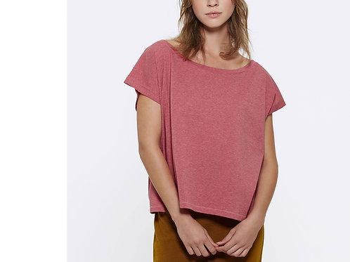 """T-shirt bio court et ample à col danseuse """"Flies"""" Coloris chiné"""