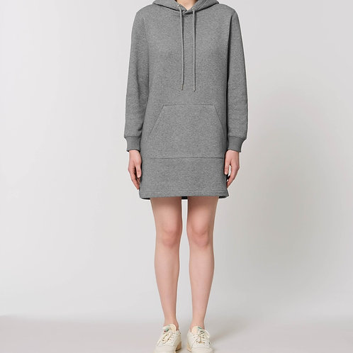 LA ROBE SWEAT-SHIRT  EN COTON BIO À CAPUCHE