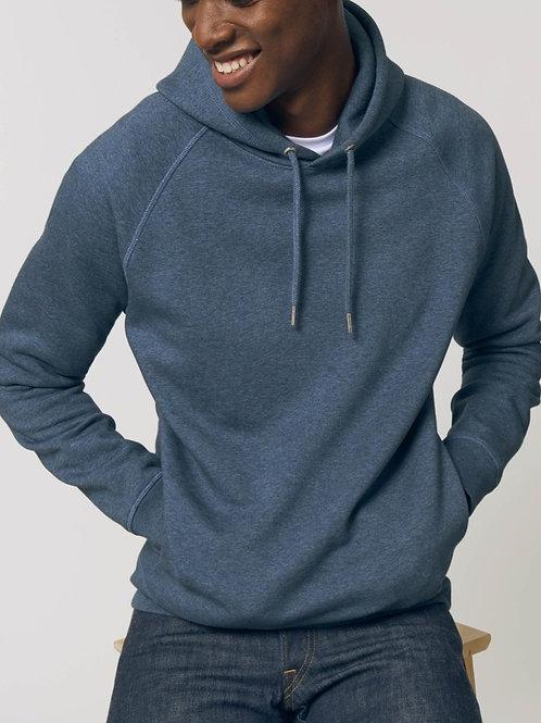 Sweatshirt BIO Homme avec capuche - SIDER - BLEU Chiné