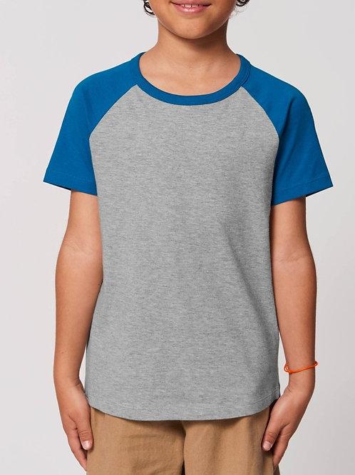 T-shirt bio garçon à col rond  - Manches contrastées - MINI CATCHER