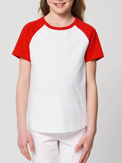 T-shirt bio filles à col rond  - Manches contrastées - MINI CATCHER
