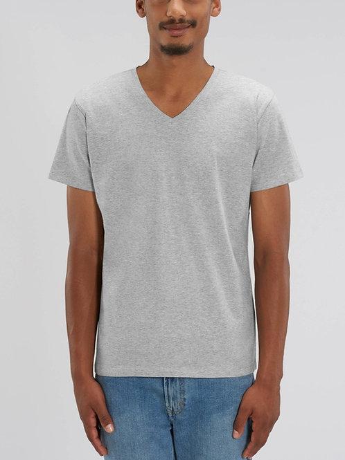 T-shirt 100% Coton Bio  - PRESENTER - col en V - Coloris Chiné