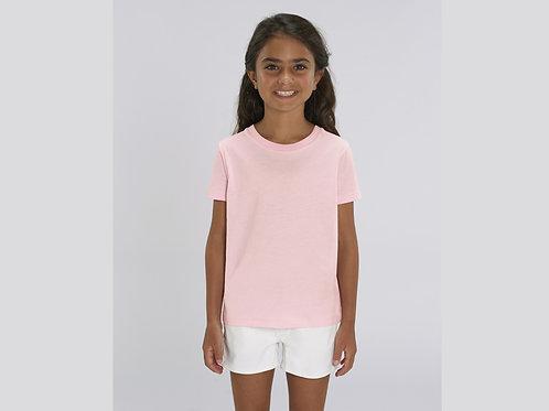 T-shirt bio filles à col rond  - COLORIS PASTELS