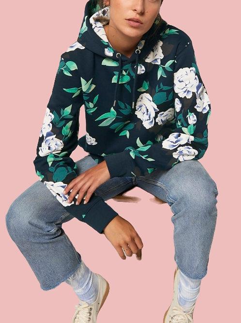 Sweatshirt BIO Femme avec capuche  -  Motif Fleuri