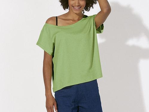 """T-shirt bio court et ample à col danseuse """"Flies"""" Coloris classiques"""