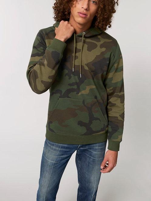 Sweatshirt BIO Homme avec capuche  -  Motif Camouflage