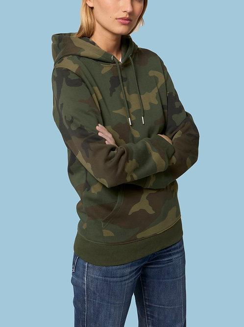 Sweatshirt BIO Femme avec capuche  -  Motif Camouflage
